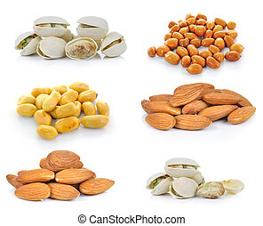 Pistachio nuts, Almonds, Peanuts on white background