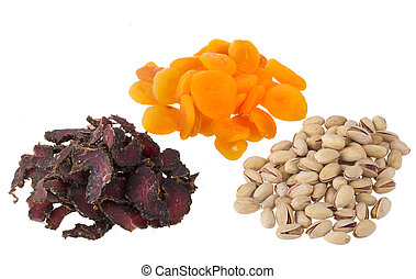 A collection of healthy snack foods, on white background.