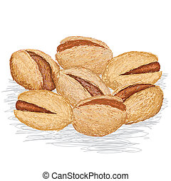 pistachio nuts - closeup illustration of group of pistachio...