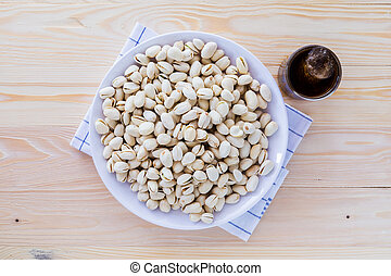 Pistachio nuts in a bowl