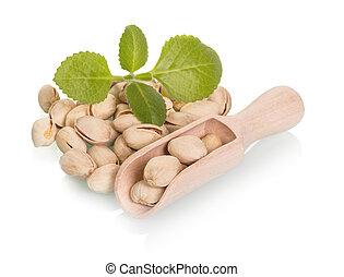 Pistachio nuts in a wooden scoop