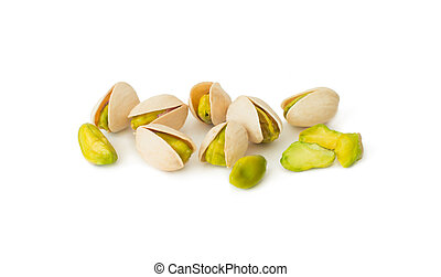 Pistachio nuts isolated on white background