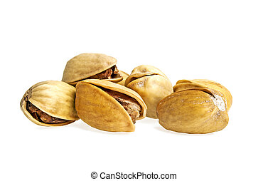 Pistachio nuts on a white background
