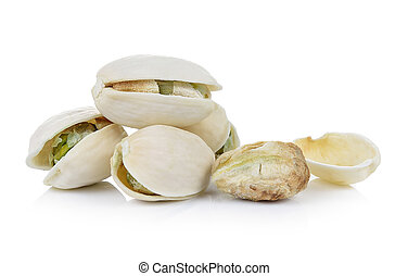 Pistachio nuts on white background