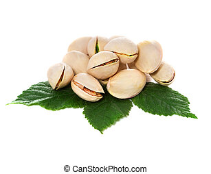 Pistachio nuts with leaves. Isolated on a white background.