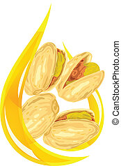 Pistachio oil. Stylized drop.
