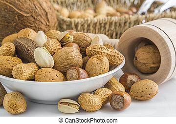 pistachio, peanuts, almonds, hazelnuts, walnuts, brazil...