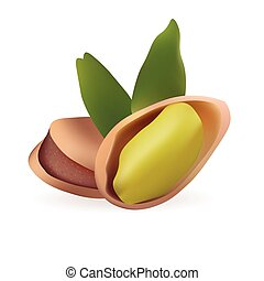 Pistachio Realistic Vector Illustration. Isolated On White Background Icon