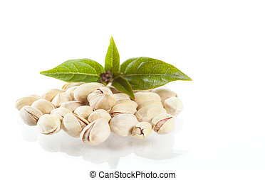 Pistachio with leaves