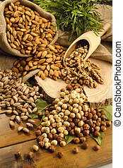 pistachios, almonds, walnuts and hazelnuts stillife