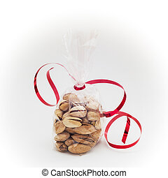 Pistachios in mini bag with red bow