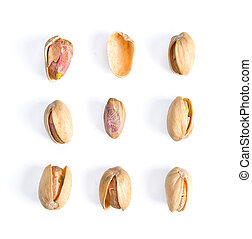 Pistachios isolated on white background, top view.