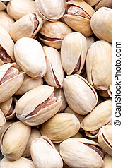 Pistachios nuts background, top view, healthy snack
