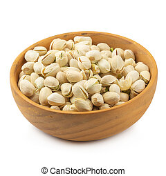 Pistachios nuts in wooden bowl isolated on a white background