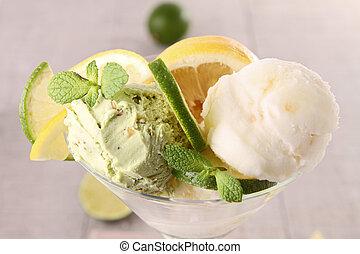 pistacho, limón, helado