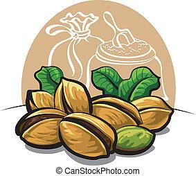 pistachos, nozes