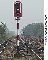 pistas, ferrocarril, señal