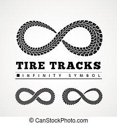 pistas, infinito, neumático, forma