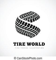 pistas, neumático, señal
