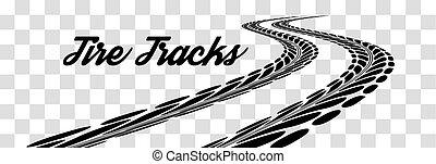 pistas, vector, neumático