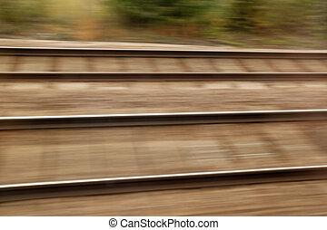 piste, élevé, fond, barbouillage, ferroviaire, vitesse