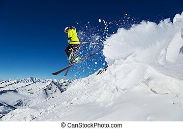 piste, 高山の スキーヤー, 滑降スキー