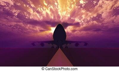 piste, 3d, atterrissage, avion
