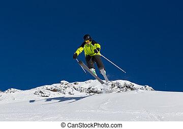 piste, alpine skier, bergafwaarts skiing