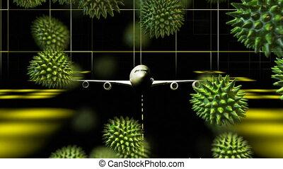 piste, animation, cellules, enduisage, coronavirus, avion, ...