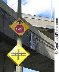 piste, arrêt, train, signe