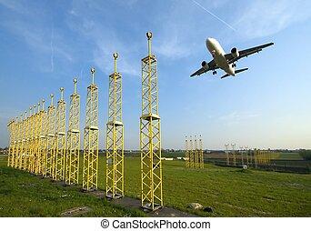 piste, avion, approchant