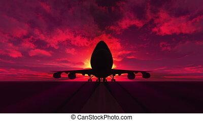 piste avion, atterrissage, 3d