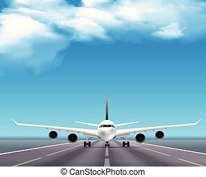piste avion, réaliste, affiche