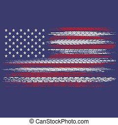 piste, bandiera, stati uniti, pneumatico, grunge
