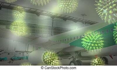 piste, cellules, enduisage, coronavirus, avion, sur, ...