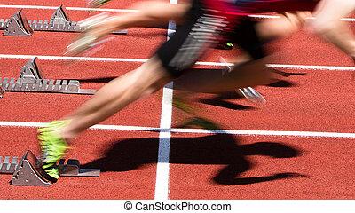 piste, champ, sprint, début