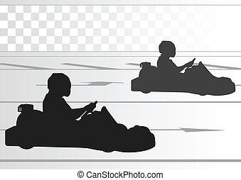 piste, chauffeur, charrette, course, fond, aller, paysage