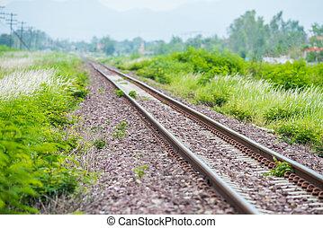 piste, chemin fer, coup, détail