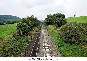piste, chemin fer, vert, jeter, paysage