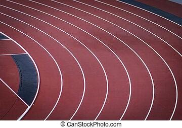 piste, commandant, lieu, coude, athlétisme