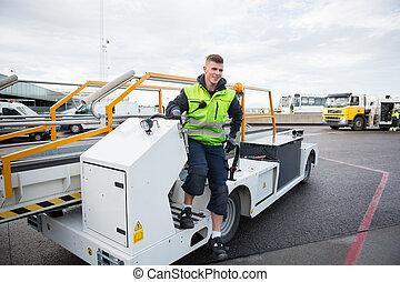 piste, convoyeur, débarquer, ouvrier, camion bagage, aéroport