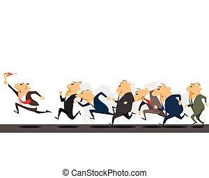 piste, courant, hommes affaires