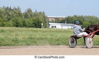 piste, course, cheval, jockey, charrette