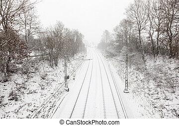 piste, couvert, chemin fer, neige