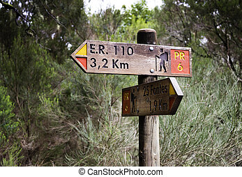 piste, direction, marche, marque