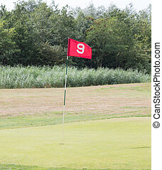 piste, drapeau, golf, rouges