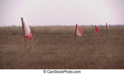 piste, drapeaux, aéroport, rouges