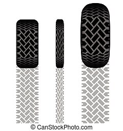 piste, ensemble, pneu