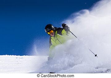 piste, esquiador alpino, cuesta abajo esquiar