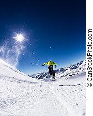 piste, esquiador alpino, declínio esquia